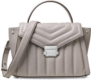 8c86a038111b MICHAEL Michael Kors Whitney Quilted Leather Top Handle Satchel Pearl  Grey/Silver
