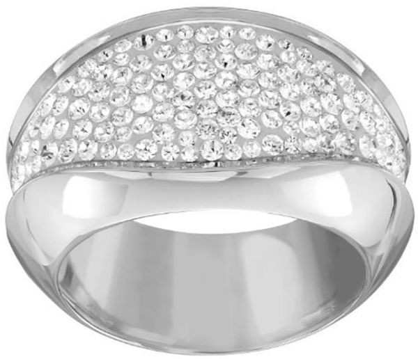 Swarovski Cycle Rhodium Plated Crystal Band Ring - Size 17.3 mm