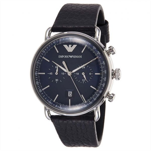 2f41e04268e Emporio Armani Men s Blue Dial Leather Band Watch - AR11105