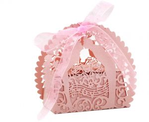30PCS Handmade Laser Cut Candy Boxes With Ribbons Wedding Party Favor Birthday Gift Sweet Kiss Lover Pattern Accessory