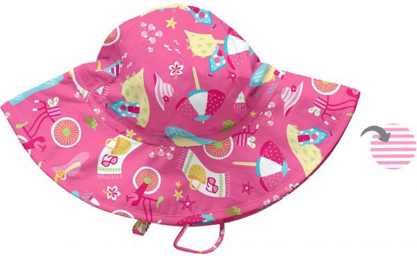 d87f43775 i play. Baby Girls' Reversible Brim Sun Protection Hat, Hot Pink Cabana,  0-6 Months