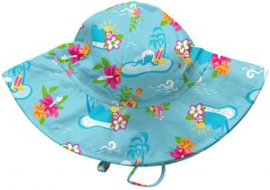 2a4ba6839 i play. Baby Girls' Brim Sun Protection Hat, Aqua Luau, 0-6 Months