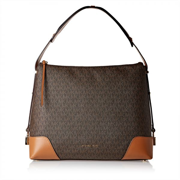 9b475e4fc301 Michael Kors 30H8GCBL3B 252 Crosby Large Signature Logo Print Hobo Bag for  Women - Leather, Brown | KSA | Souq