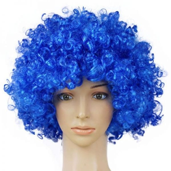Short Kinky Curly Afro Wig Heat Resistant Wigs For Women blue Cosplay Costume  Wig Party Synthetic Hair MapofBeauty  df9517d018
