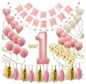 1Fst Happy Birthday Banner First Decorations For Girl 1st Baby Number 1 Balloon One Cake Topper Star Garland Marble Pink Gold Confetti
