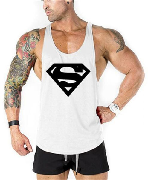 36260e40b0ed69 Superman Fitness Men Tank Top Vest Undershirt Tank Tops White