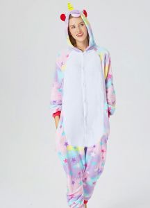 Adults Animal Pajamas Sets Cartoon Sleepwear Zipper Women Men Winter Unisex  Flannel Unicorn Pajamas 442719471