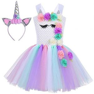 d6938f562e0 Baby Girls Unicorn Dress Birthday Pageant Princess Tulle Tutu Costumes  Rainbow Dress UP With Headband