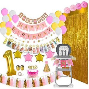 133 Pieces Baby Girl First Birthday Decorations Party Supplies Mega Bundle Includes Balloons Banners 12 Months Milestones Garlands Cake Topper