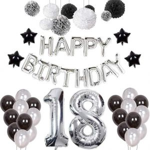 Adult Party Decoration 18th Birthday Decorations Happy 18 Banner Number Foil Ballon Decor Set Black White Silver With Tissue Paper Balls