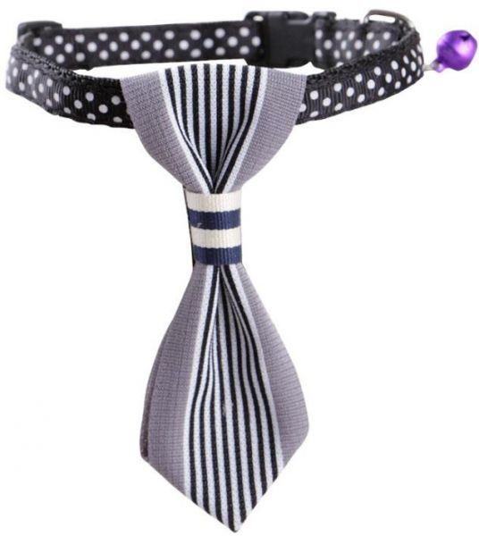 Pet Dog Cat Cotton Striped Bow Tie Collar Neck Tie Charms Necktie  White Collar  Party Accessories or Daily Wear 10''-13.5''Gray