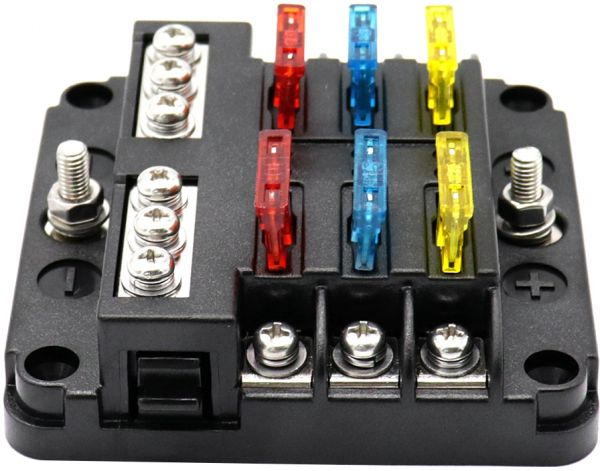 6 way led blade fuse box with negative bus bar car automotive marine6 way led blade fuse box with negative bus bar car automotive marine 12v confuence line souq uae