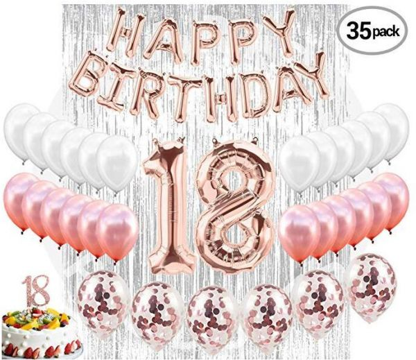 18th BIRTHDAY DECORATIONS 18 Birthday Party Supplies Cake Topper Rose Gold Banner Confetti Balloons For Her Silver Curtain Backdrop Props Or