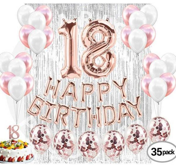 18th BIRTHDAY DECORATIONS Rose Gold 40 Piece Great For18th Birthday Party Supplies And Decorations