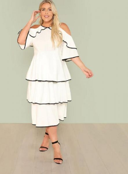 6289715449a7a SHEIN Plus Contrast Binding Cold Shoulder Layered Dress