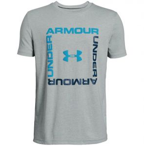 da7d35151fac Under Armour Box Logo SS Sports T-shirt for Boys - Mod Gray Light  Heather Ether Blue