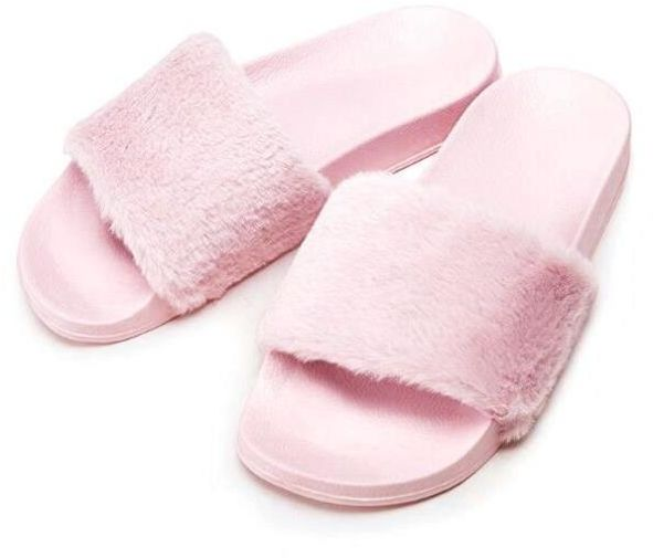 ae43e7c07717 Women Slipper Faux Fur Soft Flat Slide Slippers (Pink)