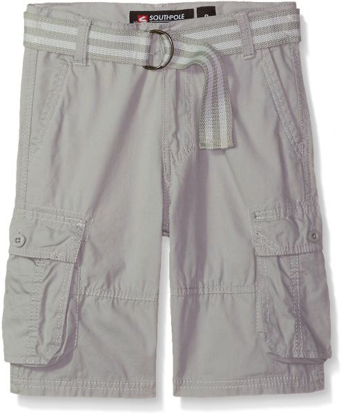 49ac469af1 Southpole Big Boys' Belted Mini Canvas Cargo Shorts In Various Colors,  Light Grey, 10 | Souq - UAE
