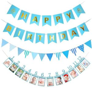 Blue Smile Happy Birthday Banner Triangular Flag 1 12 Month Photo Monthly Wall Kids Gift Decorations H