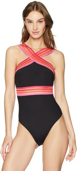 f77dfc328edf2 Kenneth Cole New York Women's High Neck Cross Front Banded One Piece ...