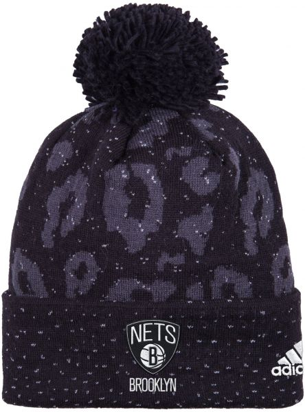 watch 59584 60bc0 NBA Brooklyn Nets Women s Black Out Print Cuffed Knit Beanie, One Size,  Black