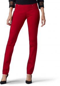 8154b4ead3d LEE Women's Sculpting Fit Slim Leg Pull On Jean, red Dahlia, 4