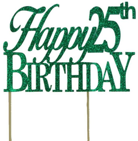 All About Details Green Happy 25th Birthday Cake Topper