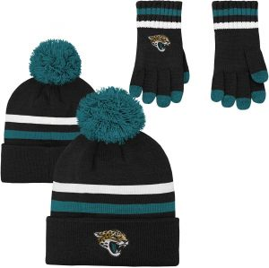 0dfad1a96 NFL Boys (4-7) 2 Piece Knit Hat and Gloves Set-Black, Jacksonville  Jaguars-One Size