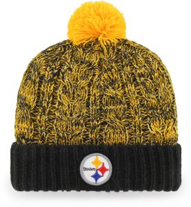 31c578021cda69 OTS NFL Pittsburgh Steelers Women's Brilyn Cuff Knit Cap with Pom, Black,  Women's