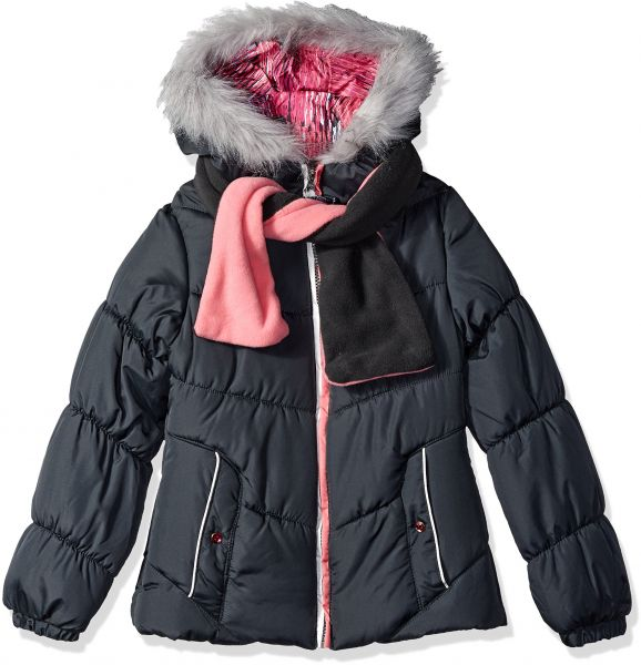 c90fb6f92aa5 London Fog Big Girls  Puffer Jacket with Accessory