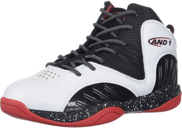 AND1 Boys' Size 'M Up Sneaker, White/Black/Fiery red, 3 Medium US Big Kid