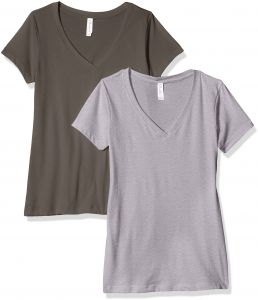 203a60f57e62 Clementine Apparel Women s Petite Plus Ideal V Neck Tee (Pack of 2)