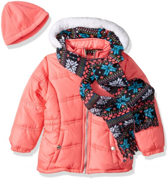 Pink Platinum Girls Foil Star Long Puffer