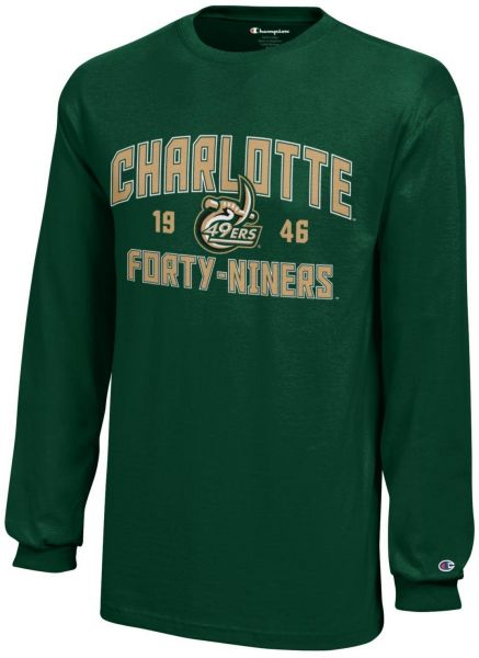 new concept 1e771 032a6 Champion NCAA North Carolina Charlotte 49Ers Youth Boys Long sleeve Jersey  T-Shirt, X-Large, Dark Green