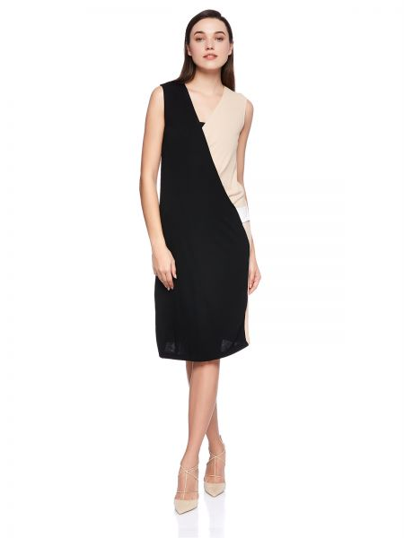 e96ea373158a Mango Straight Dress for Women - Black/Nude