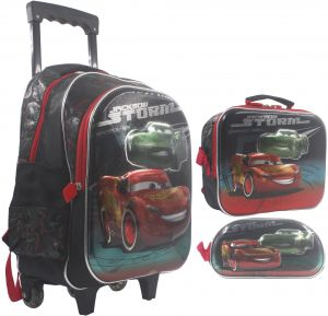 8908836108249 3D School Bag Trolley With Backpack for Children Boy - 18 Inch - Set of 3