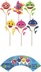 Set of 12 Baby Shark Cupcake Toppers