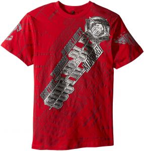 810d10c4 Southpole Men's Short Sleeve Foil and Screen All Over Logo Graphic Tee,  Foil/Red, Medium