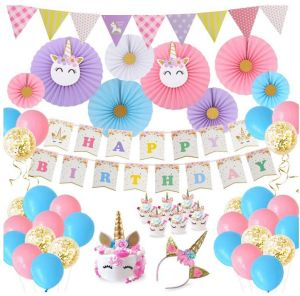 Happy Birthday Banner Unicorn Headband Party Decorations Baby Girls Theme Supplies Paper Fans Cupcake Wrapper Balloons For Kids