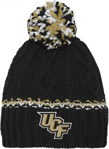 the best attitude d444f 14b11 NCAA by Outerstuff NCAA Central Florida Golden Knights Youth Girls Cable  Knit Cuffless Hat w Pom, Black, Youth One Size