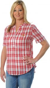 a71948913cd UG Apparel NCAA Iowa State Cyclones Women's Short Sleeve Plaid Top, Small,  Crimson