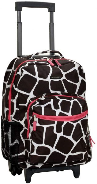 a4377c4179ec Rockland Luggage 17 Inch Rolling Backpack, Pink Giraffe, One Size ...
