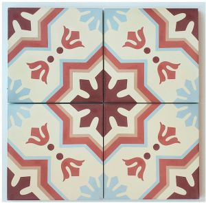Rustico Tile and Stone RTS12 Roseton A Cement Tile Pack of 13 8x 8 Black//Gray//White