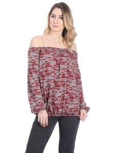 003479ca0b Fabulous Camouflage Long Sleeve Off-Shoulder Top for Women - Burgundy