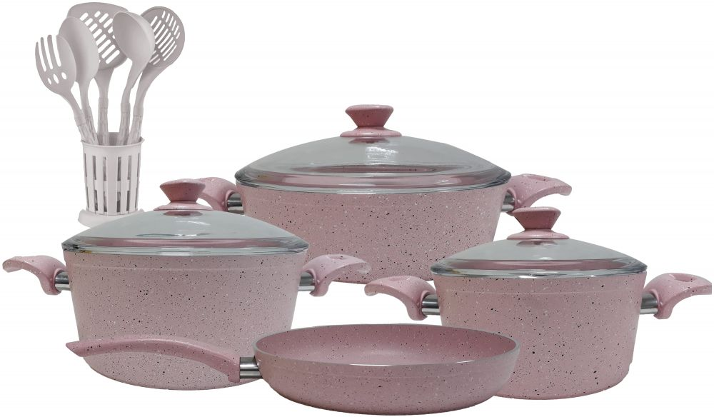 Regal In House - Turkish Granite cookware set 13 pcs with 6-pcs Service set - Pyrex glass lids - Pink