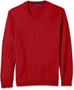 ed553fe5c922 Nautica Men's Big Long Sleeve Solid Classic V-Neck Sweater, Red N71050,  5XLT Tall