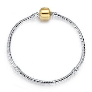 5a051b78d Women Charm Bracelet 925 Sterling Silver Plated Snake Chain with Gold  Plated Fixed Clasp , Mother's Day Gifts for Women 18cm