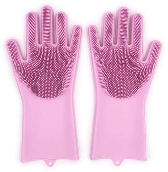 Magic Reusable Silicone Gloves With Wash Scrubber Heat Resistant For Cleaning