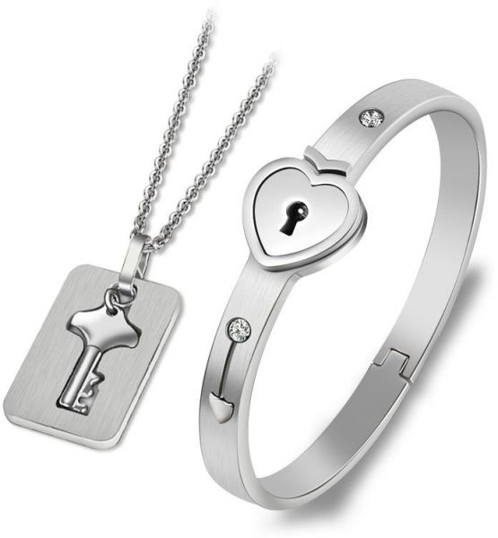 Couple Bracelet & Couples Pendant Necklace A Couple Jewelry Sets Stainless Steel Love Heart Lock Bracelets Bangles Key Pendant Necklace Couples