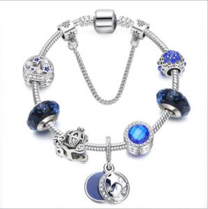 0aeb4fdd1 Qings Silver Plated Snake Chain Glass Beads Moon and Star Charm Beaded  Bracelets for Women 18cm